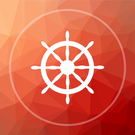 Nautical wheel icon. Nautical wheel website button on red low poly background. Stock Photo