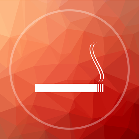 Cigarette icon. Cigarette website button on red low poly background. Stock Photo