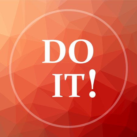 Do it icon. Do it website button on red low poly background.