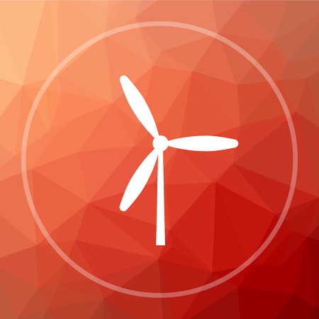 Windmill icon. Windmill website button on red low poly background. Stock Photo