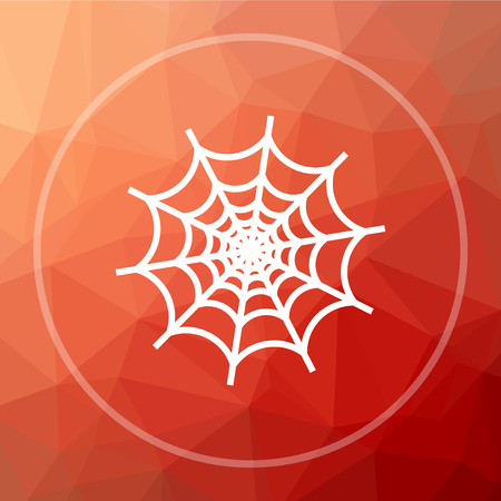 spider web: Spider web icon. Spider web website button on red low poly background. Stock Photo