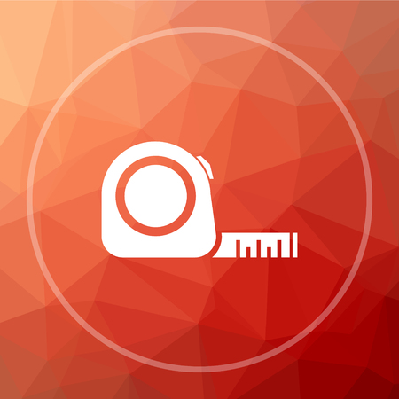 Tape measure icon. Tape measure website button on red low poly background.