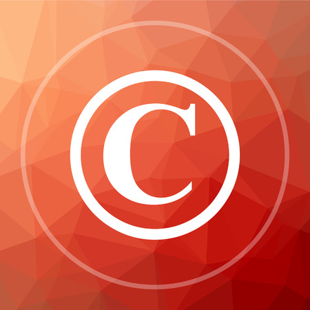 Copyright icon. Copyright website button on red low poly background.