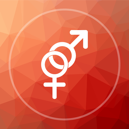 Sex icon. Sex website button on red low poly background.
