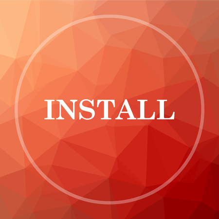 operative: Install icon. Install website button on red low poly background. Stock Photo