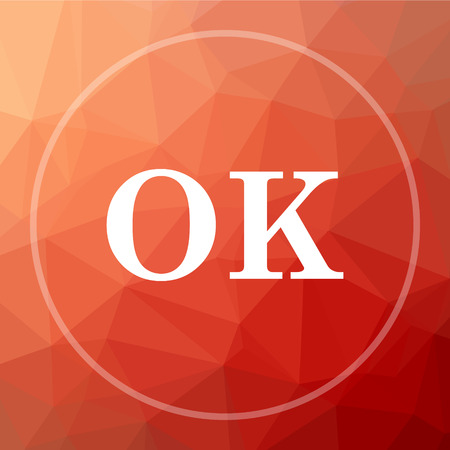 confirmed: OK icon. OK website button on red low poly background. Stock Photo