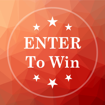 wagers: Enter to win icon. Enter to win website button on red low poly background. Stock Photo