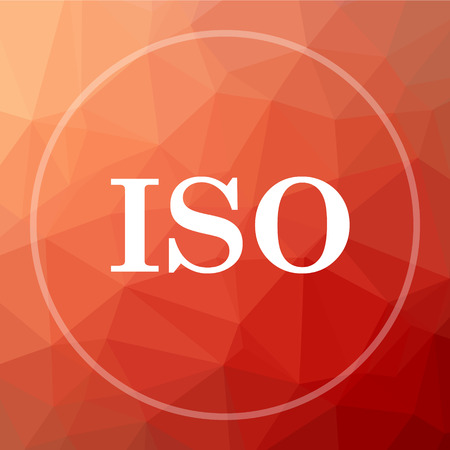 ISO icon. ISO website button on red low poly background. Stock Photo