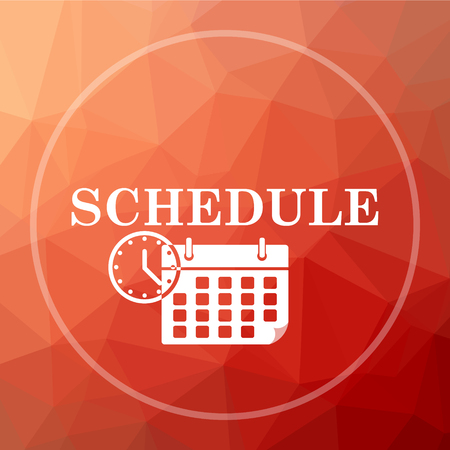 priority: Schedule icon. Schedule website button on red low poly background.