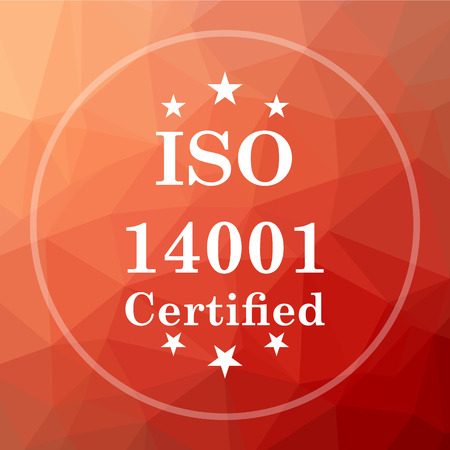 ISO14001 icon. ISO14001 website button on red low poly background. Stock Photo