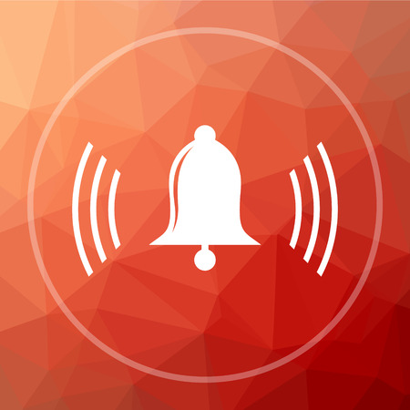 Bell icon. Bell website button on red low poly background.