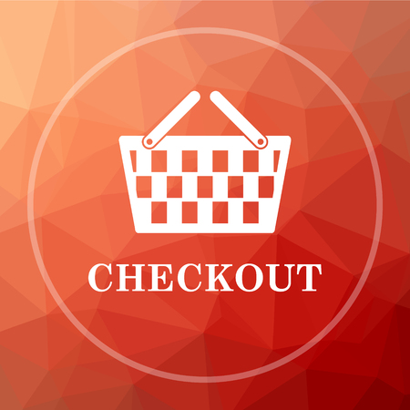 checkout: Checkout icon. Checkout website button on red low poly background. Stock Photo
