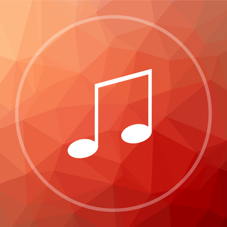 melodic: Music icon. Music website button on red low poly background.