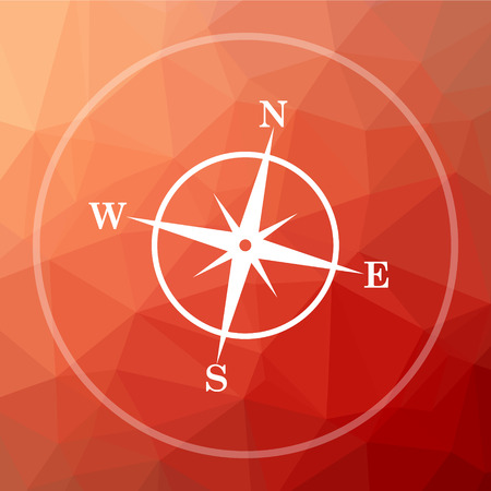 geodesy: Compass icon. Compass website button on red low poly background.