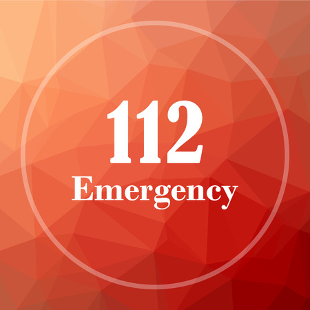 bad service: 112 Emergency icon. 112 Emergency website button on red low poly background.