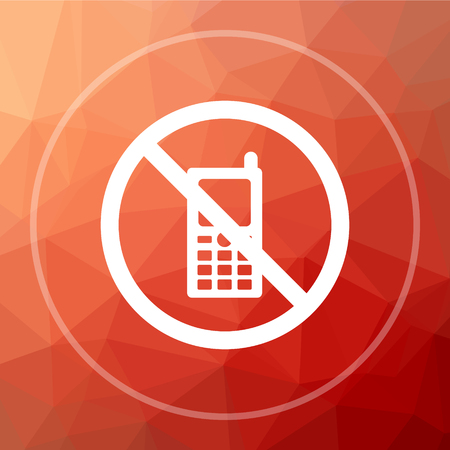 no cell phone: Mobile phone restricted icon. Mobile phone restricted website button on red low poly background.