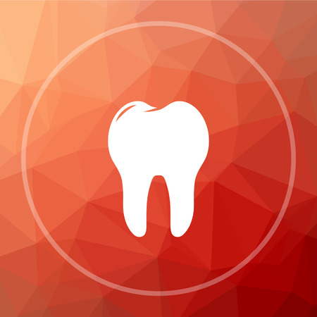 Tooth icon. Tooth website button on red low poly background.