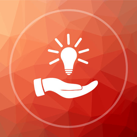 Hand holding lightbulb.Idea icon. Hand holding lightbulb.Idea website button on red low poly background.