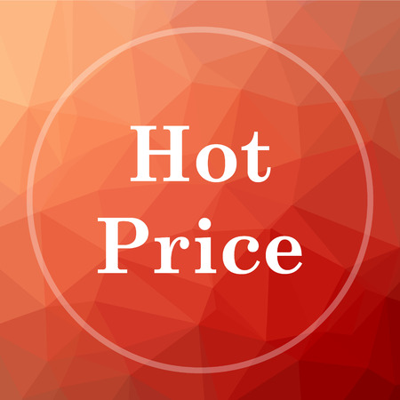 Hot price icon. Hot price website button on red low poly background. Stock Photo