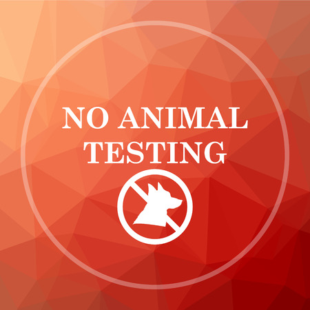 testing: No animal testing icon. No animal testing website button on red low poly background.