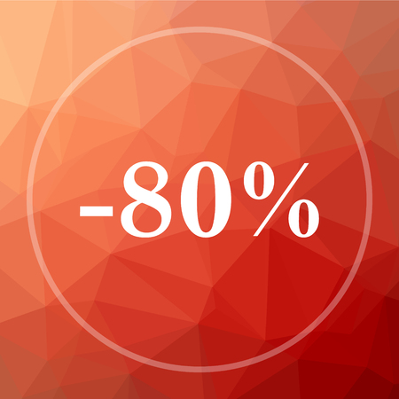 80 percent discount icon. 80 percent discount website button on red low poly background.