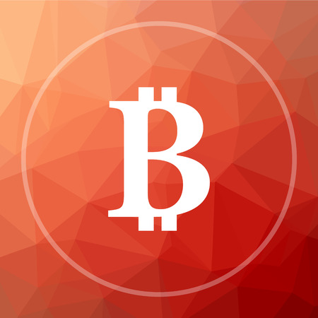 cryptography: Bitcoin icon. Bitcoin website button on red low poly background.