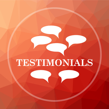 certificated: Testimonials icon. Testimonials website button on red low poly background. Stock Photo