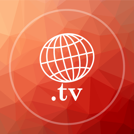 .tv icon. .tv website button on red low poly background.