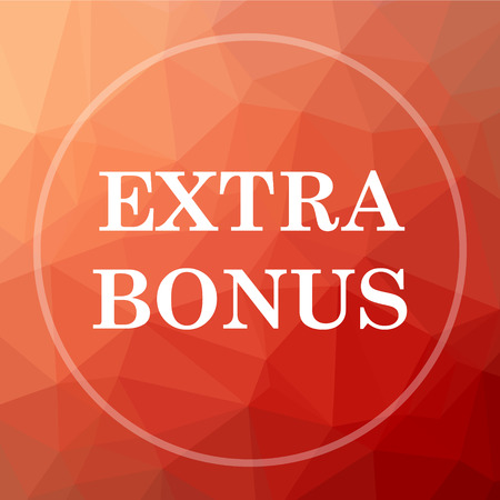 extra: Extra bonus icon. Extra bonus website button on red low poly background.
