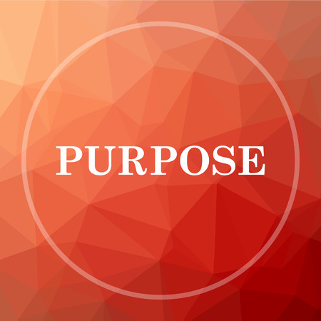 purpose: Purpose icon. Purpose website button on red low poly background. Stock Photo