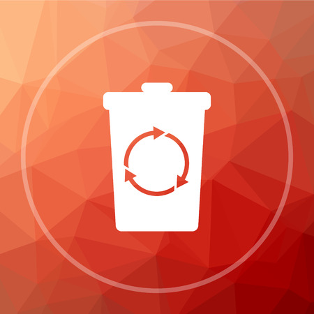 dispose: Recycle bin icon. Recycle bin website button on red low poly background.