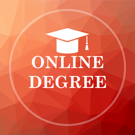 online degree: Online degree icon. Online degree website button on red low poly background. Stock Photo