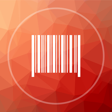 Barcode icon. Barcode website button on red low poly background.
