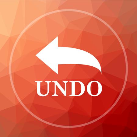 undo: Undo icon. Undo website button on red low poly background.