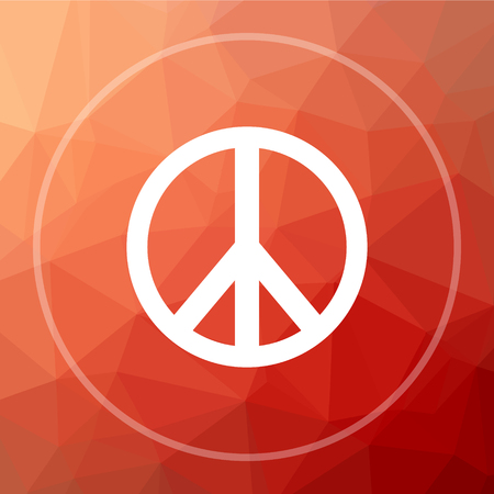 in low spirits: Peace icon. Peace website button on red low poly background. Stock Photo