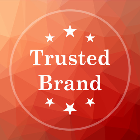 trusted: Trusted brand icon. Trusted brand website button on red low poly background. Stock Photo