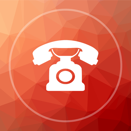 phone button: Phone icon. Phone website button on red low poly background. Stock Photo