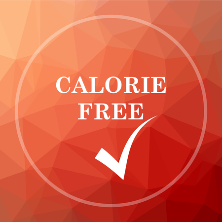 calorie: Calorie free icon. Calorie free website button on red low poly background. Stock Photo