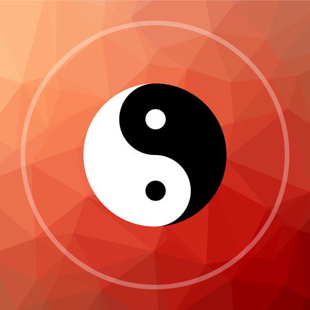 Ying yang icon. Ying yang website button on red low poly background. Stock Photo
