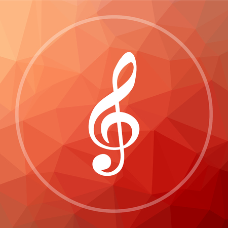 mp3 player: Musical note icon. Musical note website button on red low poly background.