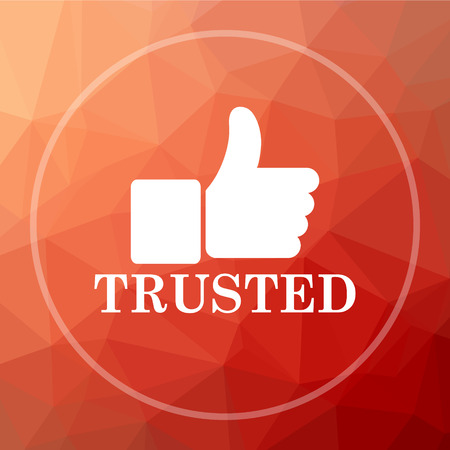 trusted: Trusted icon. Trusted website button on red low poly background.
