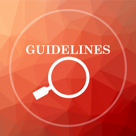 guidelines: Guidelines icon. Guidelines website button on red low poly background.