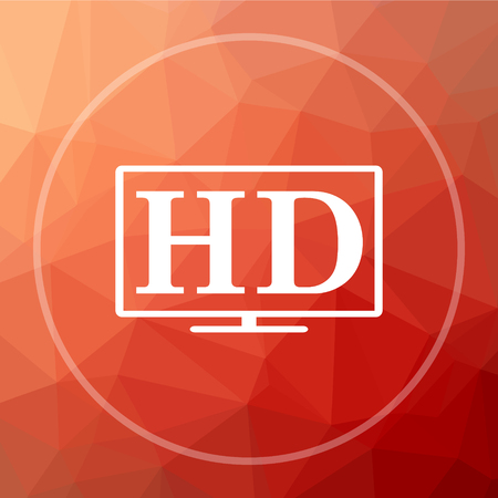 hd tv: HD TV icon. HD TV website button on red low poly background. Stock Photo