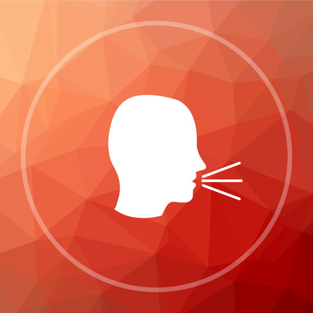 loudly: Talking icon. Talking website button on red low poly background. Stock Photo