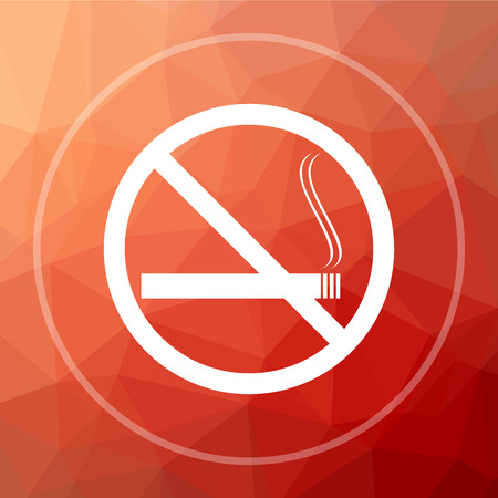 No smoking icon. No smoking website button on red low poly background.