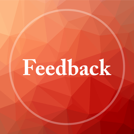 feedback: Feedback icon. Feedback website button on red low poly background. Stock Photo