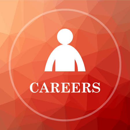 career entry: Careers icon. Careers website button on red low poly background.