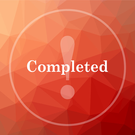 completed: Completed icon. Completed website button on red low poly background. Stock Photo