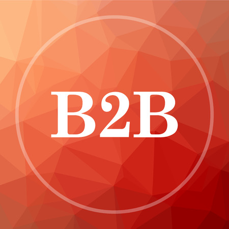 b2b: B2B icon. B2B website button on red low poly background.