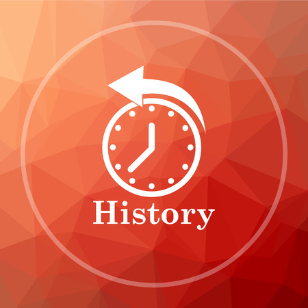 History icon. History website button on red low poly background.